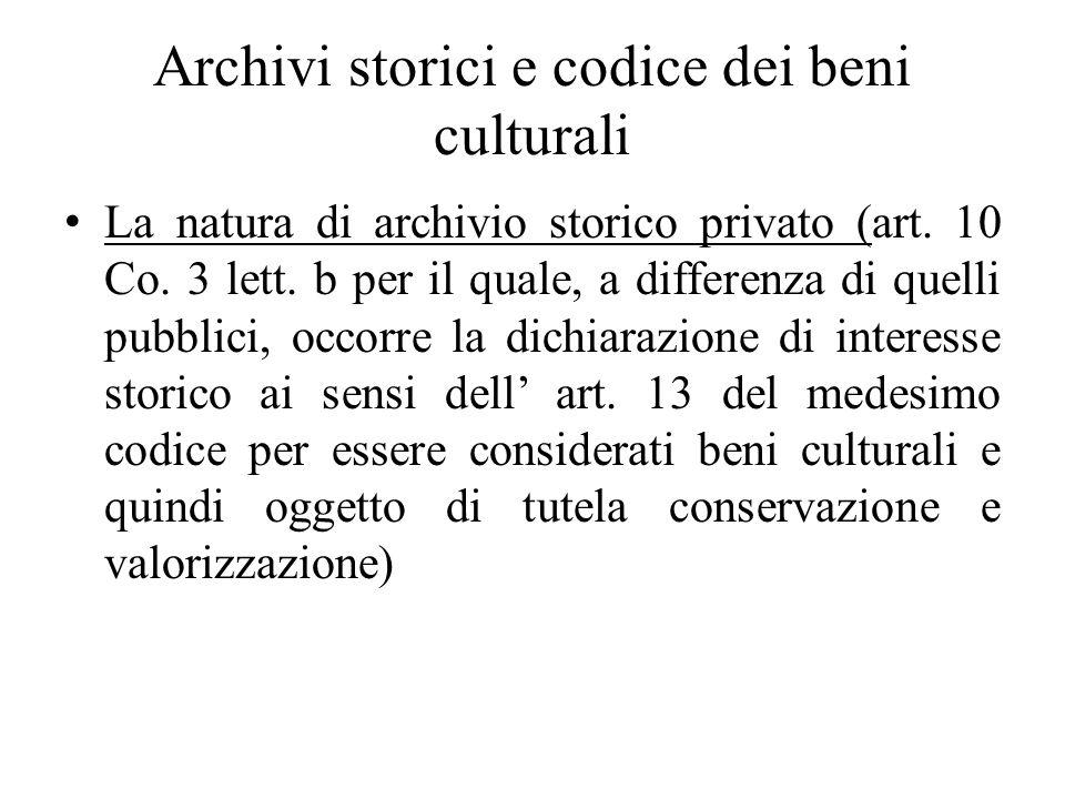 Archivi storici e codice dei beni culturali