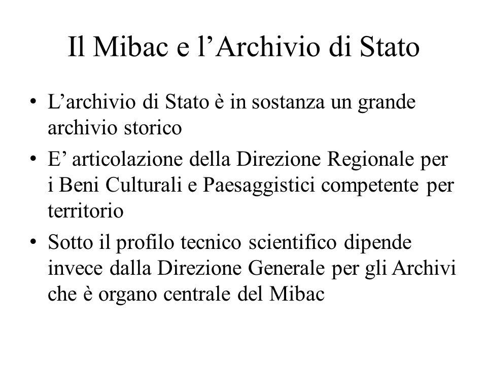 Il Mibac e l'Archivio di Stato