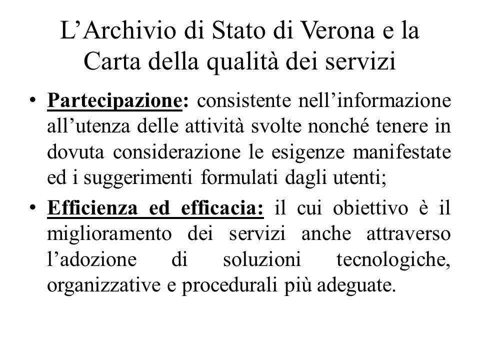L'Archivio di Stato di Verona e la Carta della qualità dei servizi