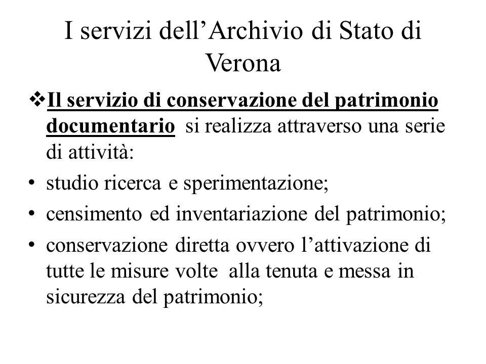 I servizi dell'Archivio di Stato di Verona
