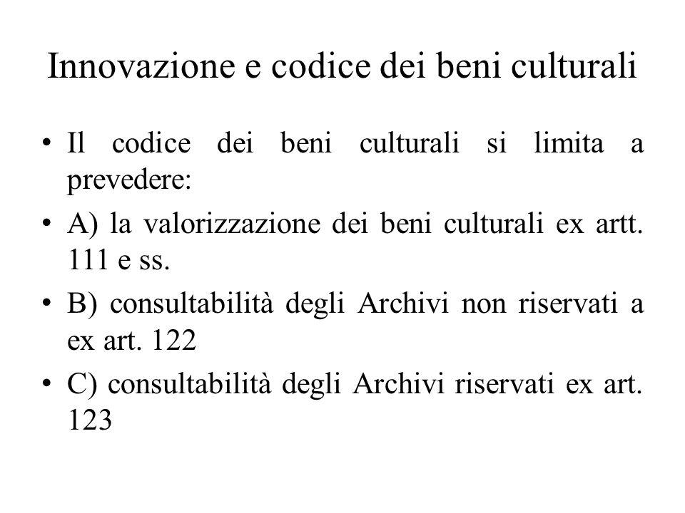 Innovazione e codice dei beni culturali
