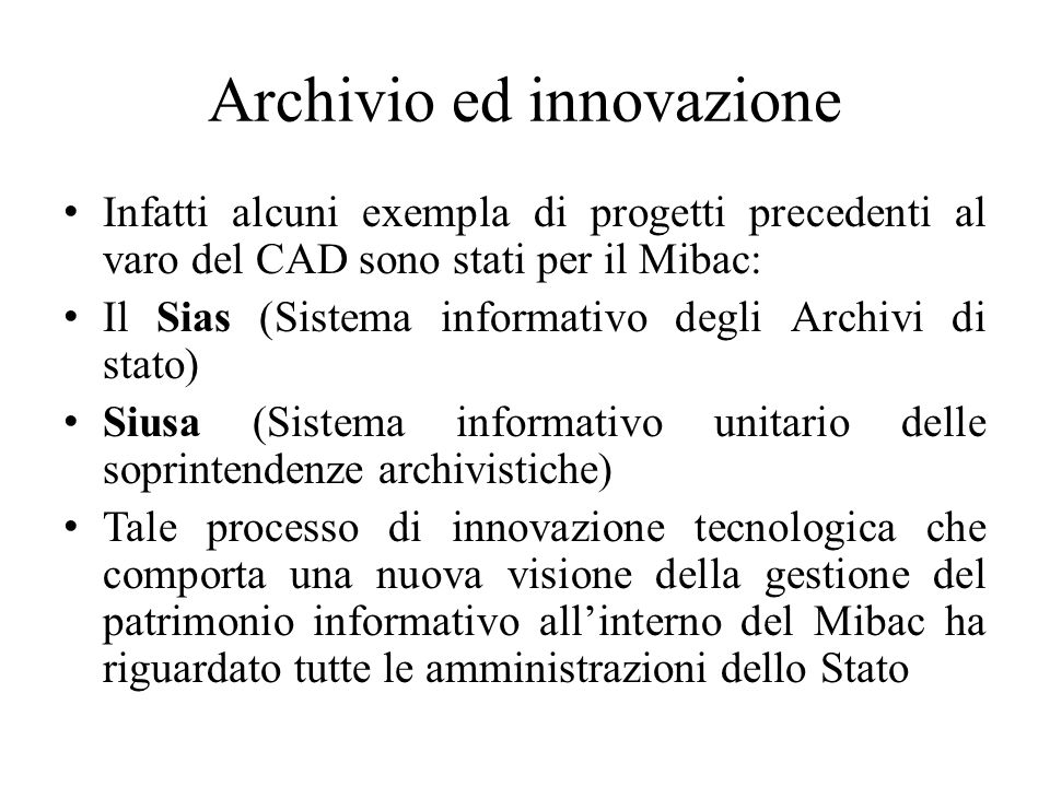 Archivio ed innovazione