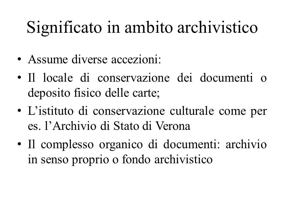 Significato in ambito archivistico