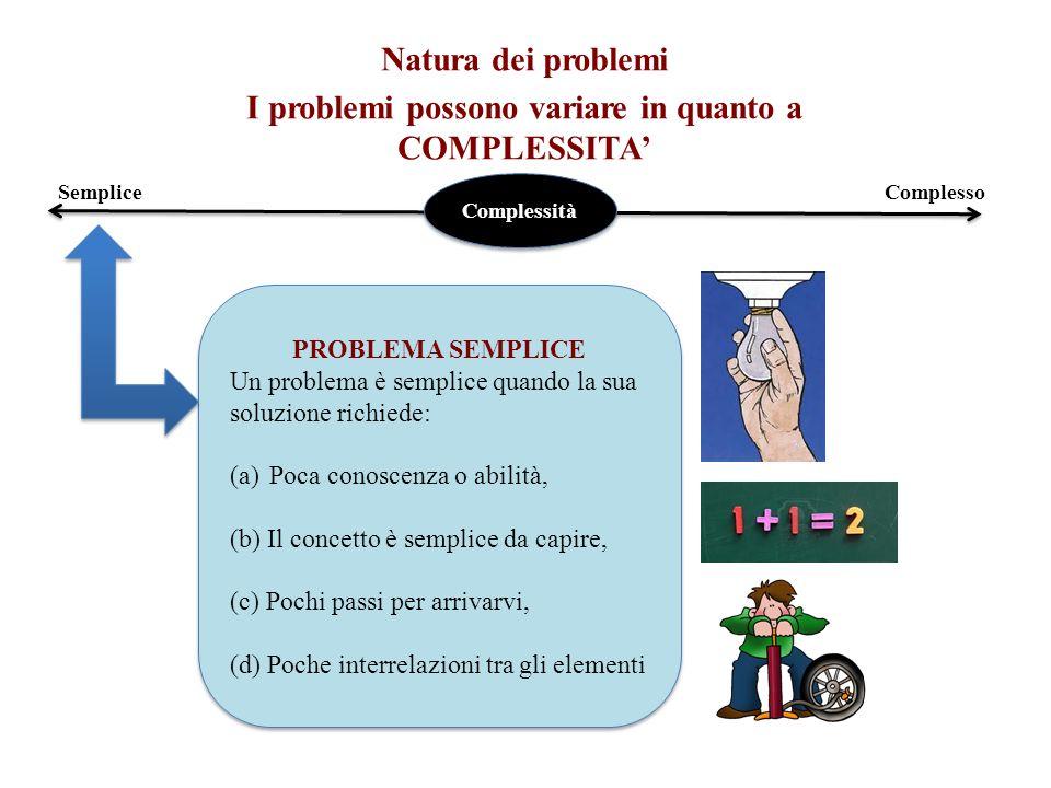 I problemi possono variare in quanto a COMPLESSITA'