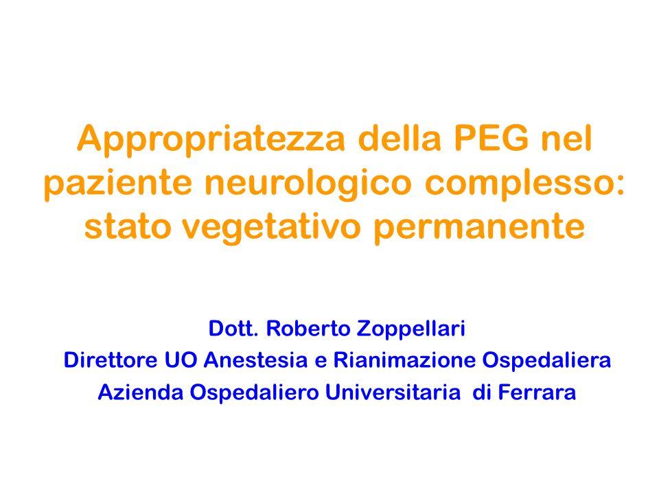 Appropriatezza della PEG nel paziente neurologico complesso: stato vegetativo permanente
