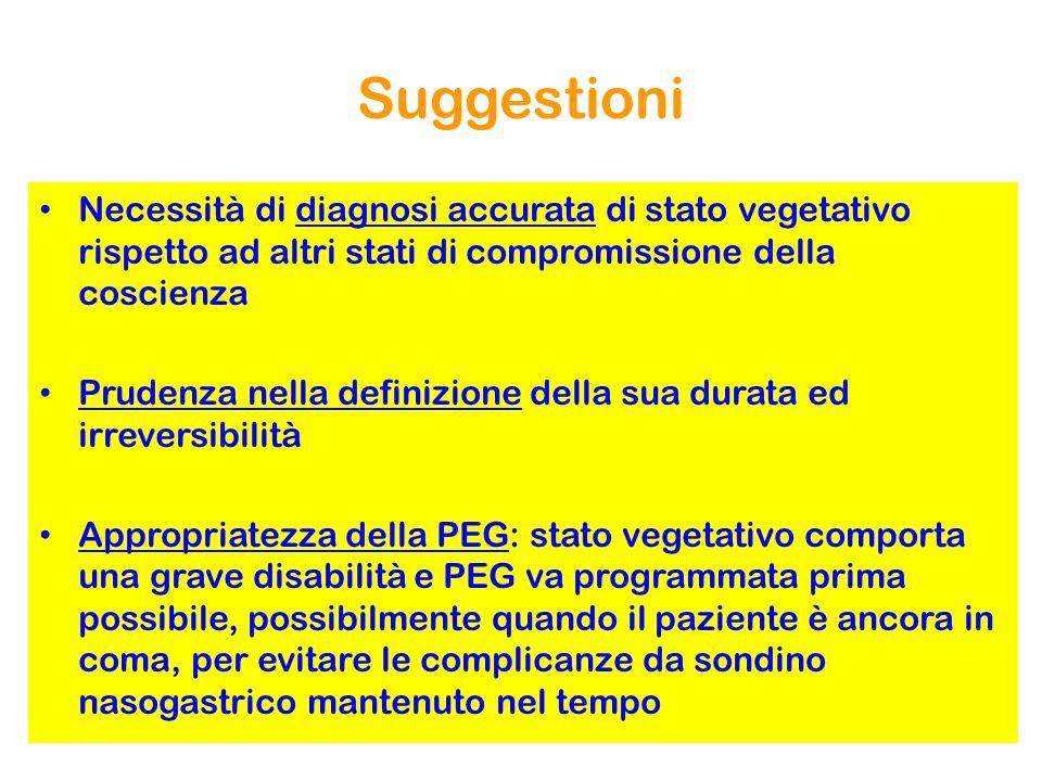 Suggestioni Necessità di diagnosi accurata di stato vegetativo rispetto ad altri stati di compromissione della coscienza.