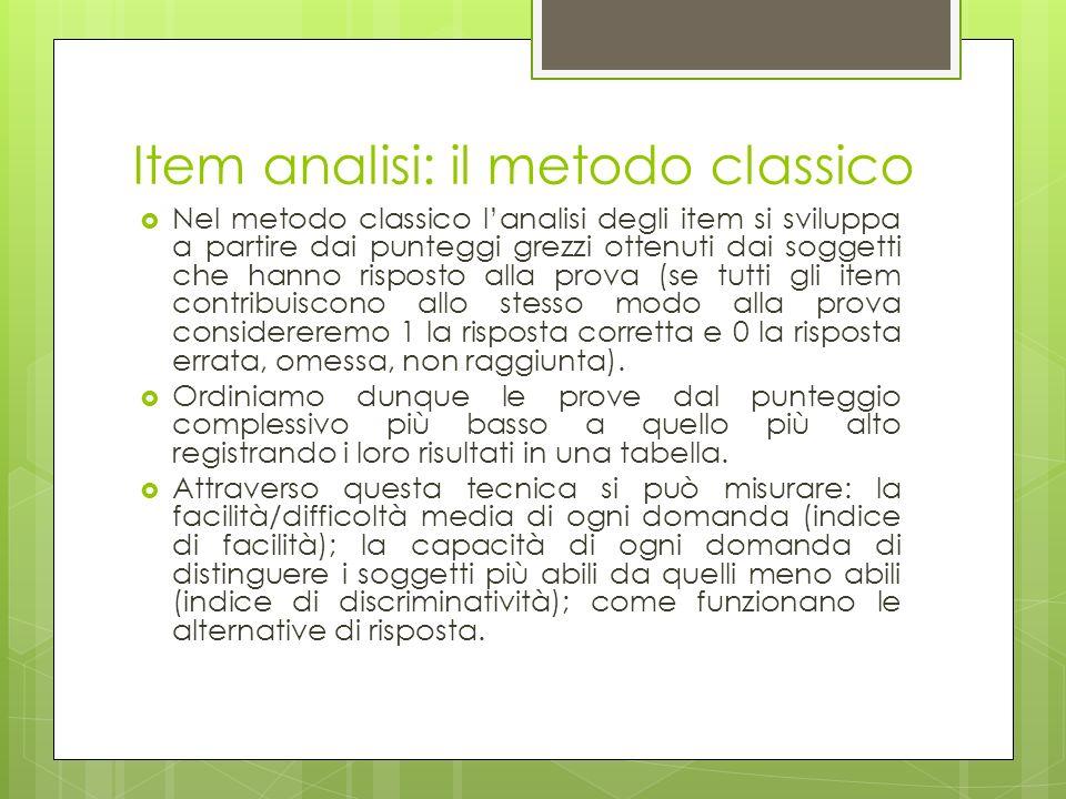 Item analisi: il metodo classico
