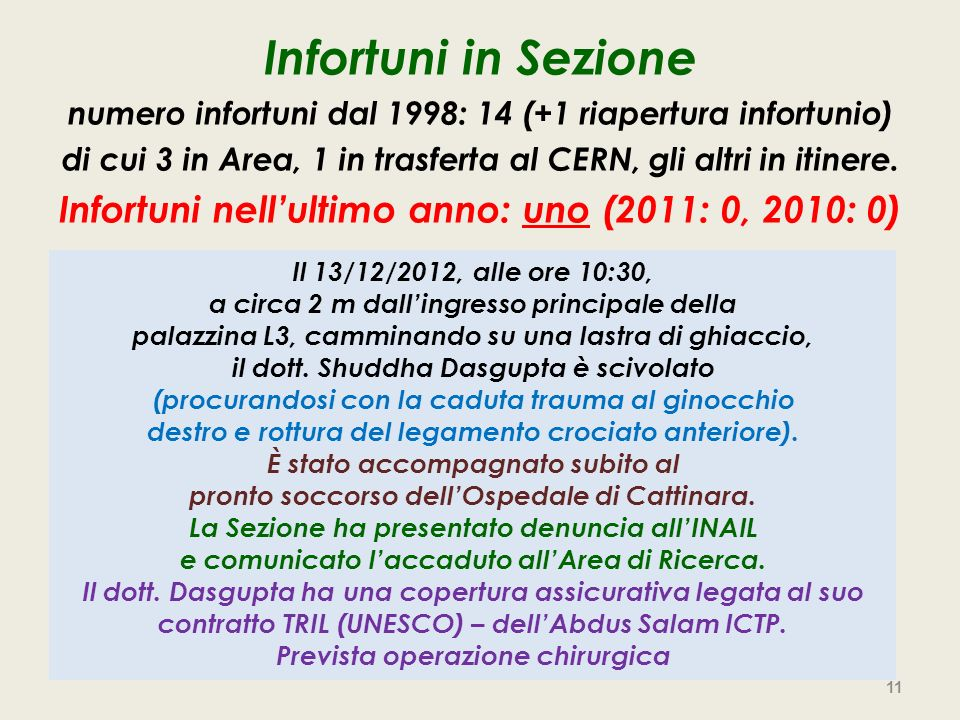 Infortuni in Sezione numero infortuni dal 1998: 14 (+1 riapertura infortunio) di cui 3 in Area, 1 in trasferta al CERN, gli altri in itinere.