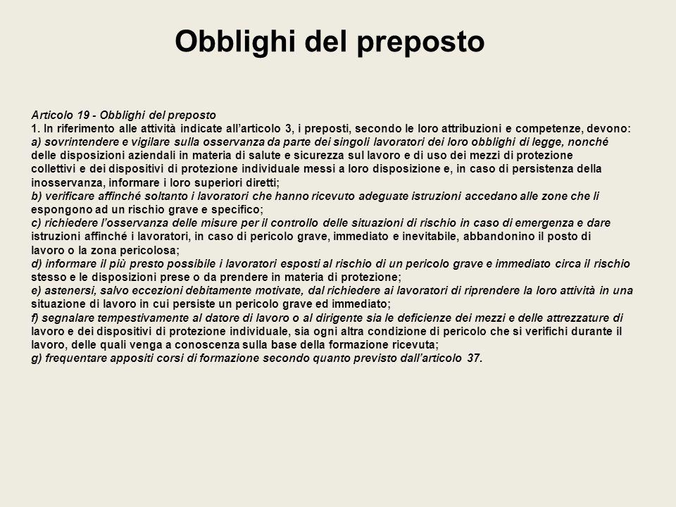 Obblighi del preposto Articolo 19 - Obblighi del preposto