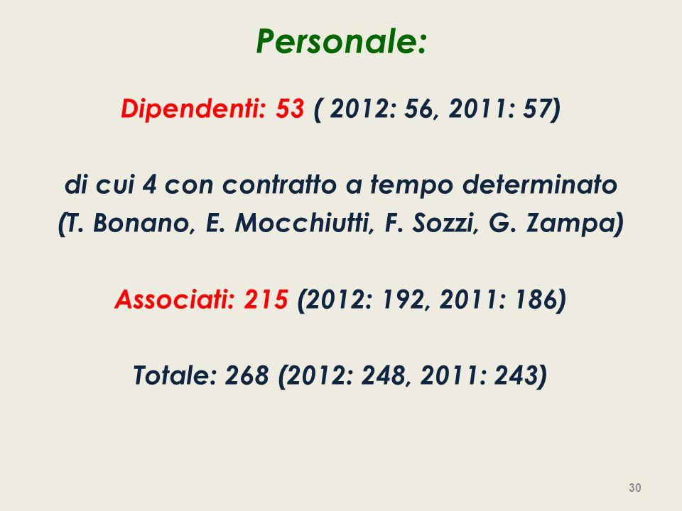 Personale: Dipendenti: 53 ( 2012: 56, 2011: 57)