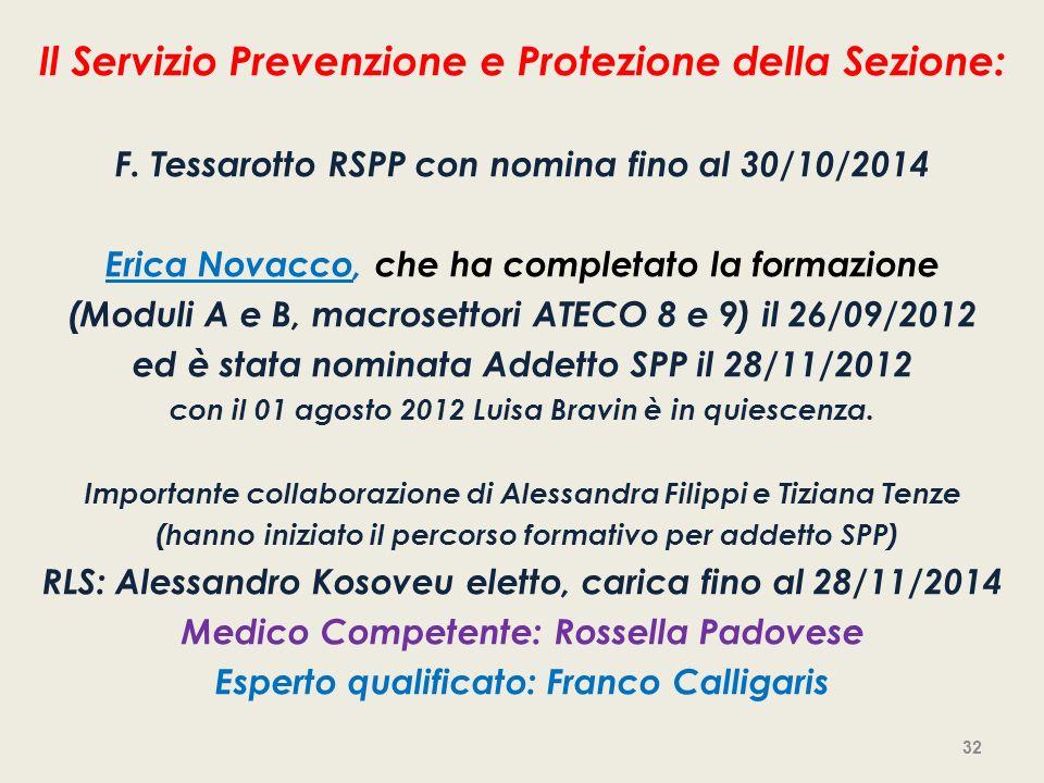 Il Servizio Prevenzione e Protezione della Sezione: