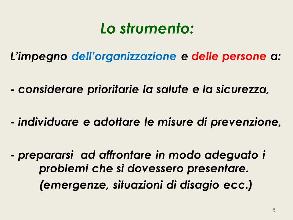 Lo strumento: L'impegno dell'organizzazione e delle persone a: