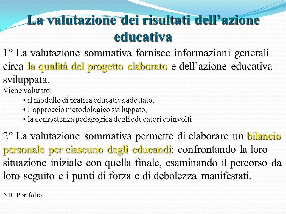 La valutazione dei risultati dell'azione educativa