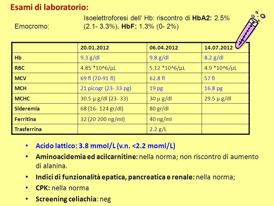 Esami di laboratorio: Acido lattico: 3.8 mmol/L (v.n. <2.2 moml/L)