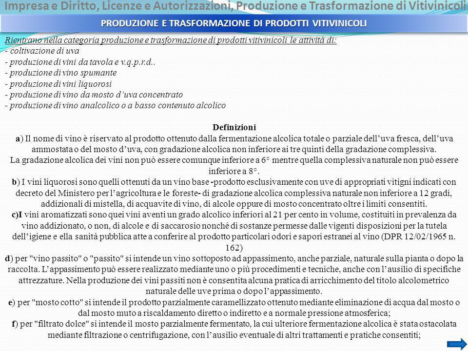 PRODUZIONE E TRASFORMAZIONE DI PRODOTTI VITIVINICOLI