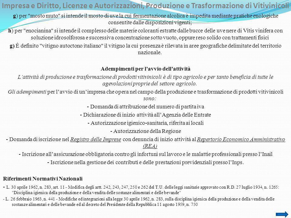 Impresa e Diritto, Licenze e Autorizzazioni, Produzione e Trasformazione di Vitivinicoli
