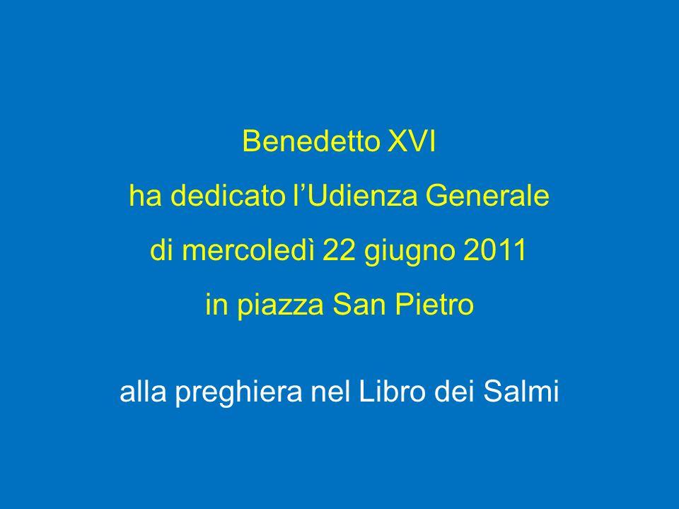 ha dedicato l'Udienza Generale di mercoledì 22 giugno 2011