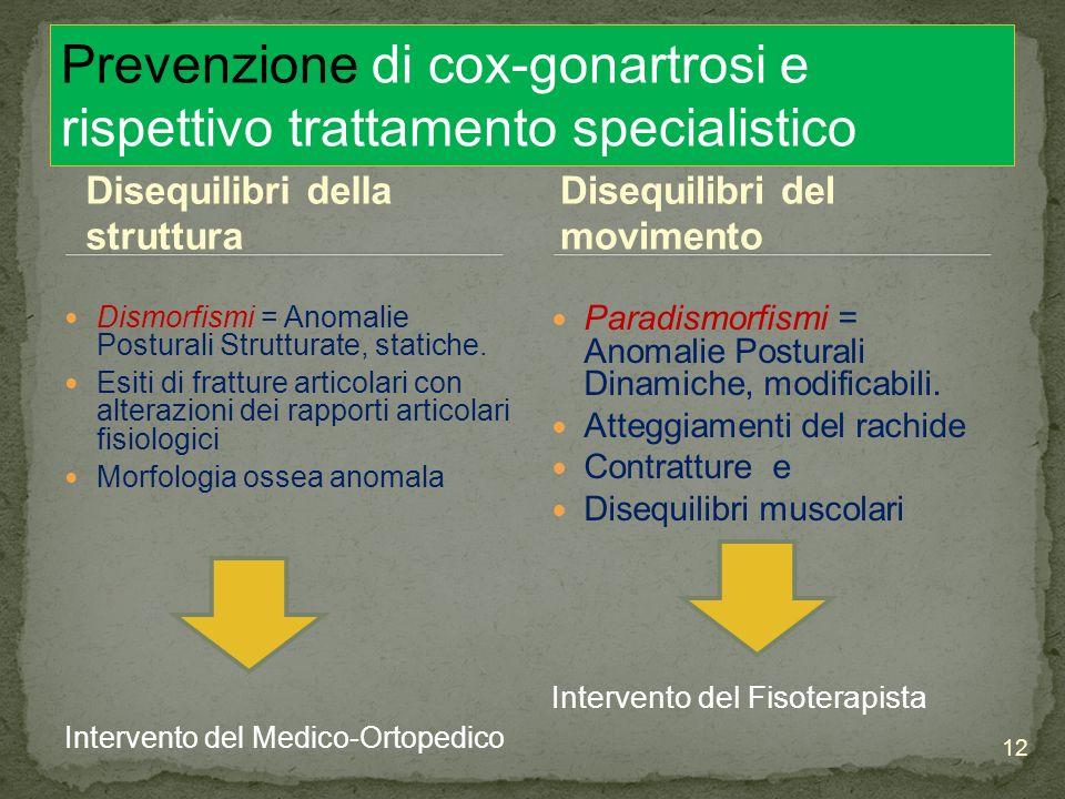 Prevenzione di cox-gonartrosi e rispettivo trattamento specialistico