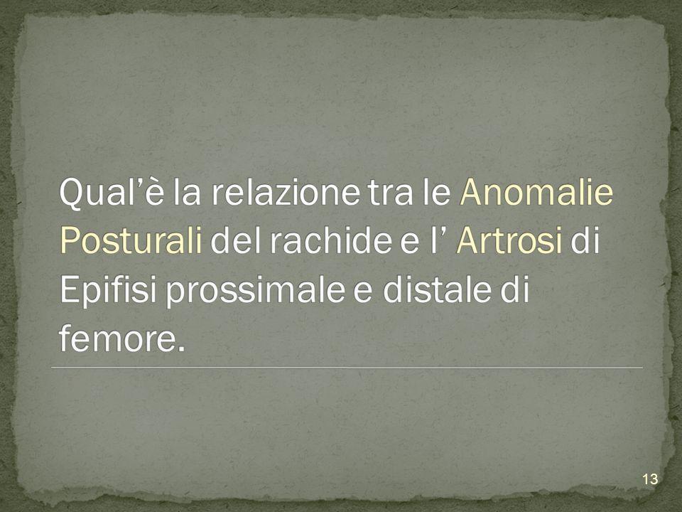 Qual'è la relazione tra le Anomalie Posturali del rachide e l' Artrosi di Epifisi prossimale e distale di femore.