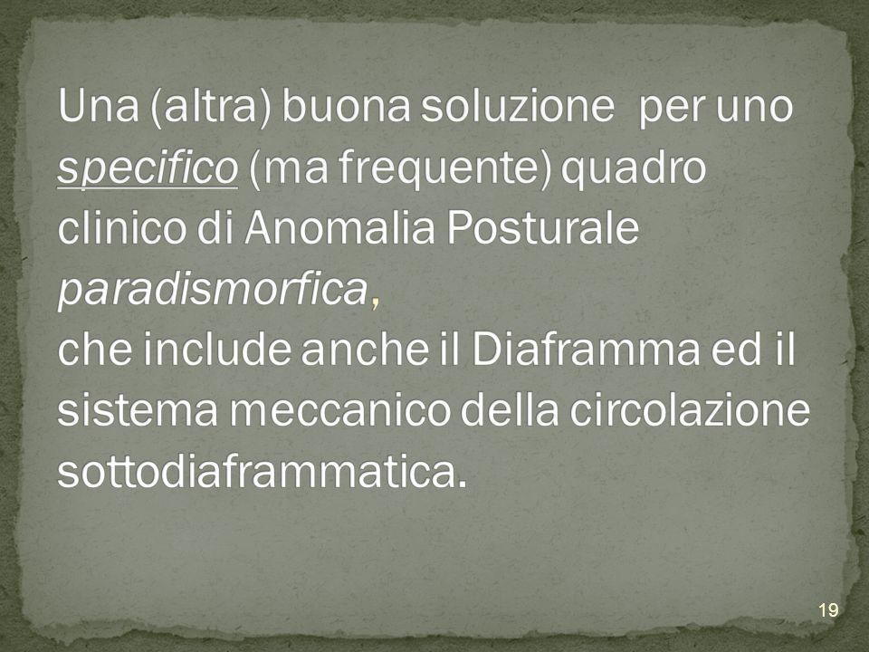 Una (altra) buona soluzione per uno specifico (ma frequente) quadro clinico di Anomalia Posturale paradismorfica, che include anche il Diaframma ed il sistema meccanico della circolazione sottodiaframmatica.