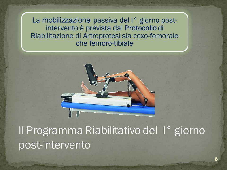 Il Programma Riabilitativo del I° giorno post-intervento