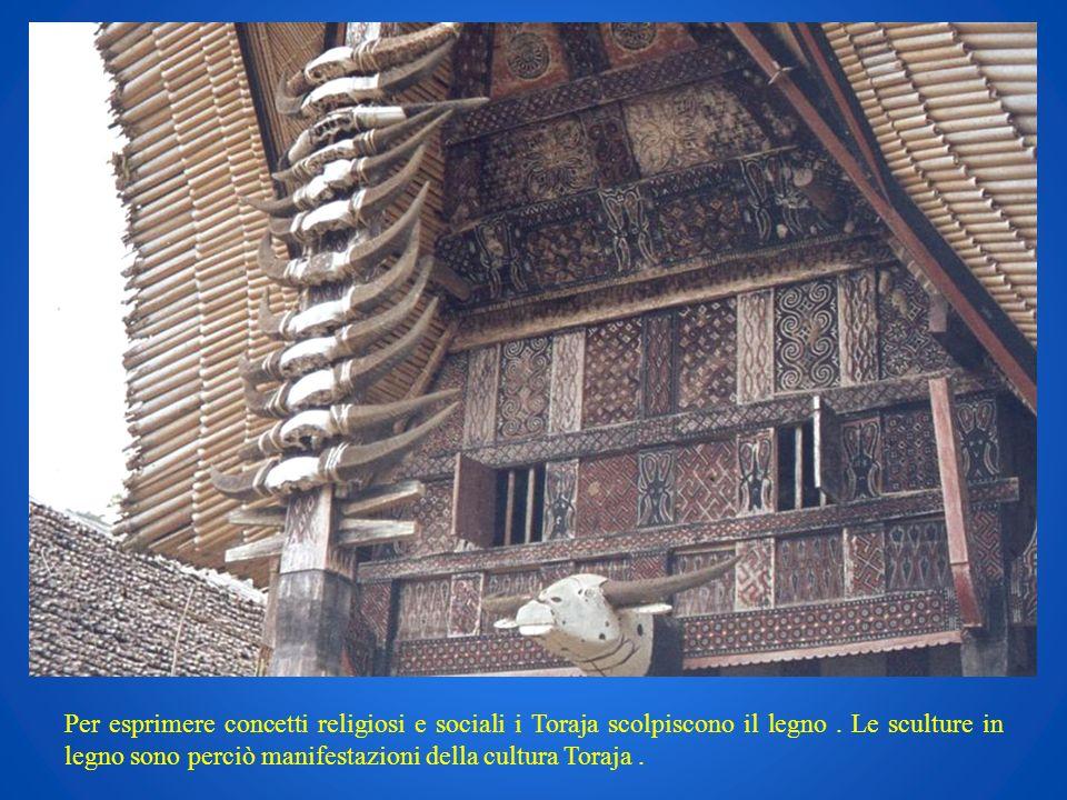 Per esprimere concetti religiosi e sociali i Toraja scolpiscono il legno .
