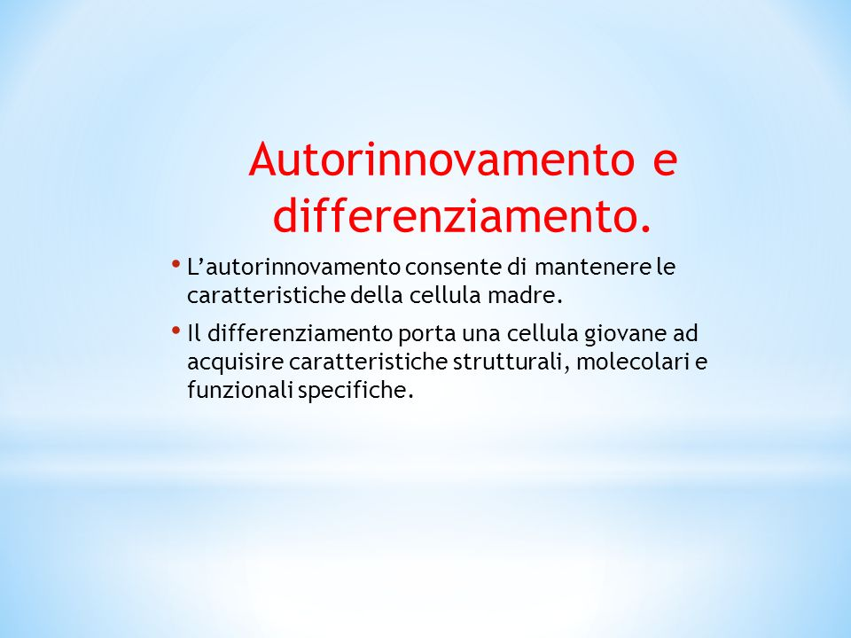 Autorinnovamento e differenziamento.