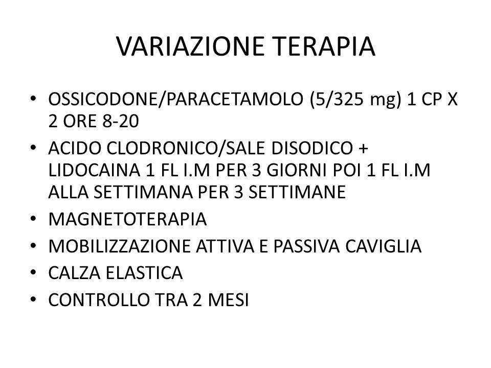 VARIAZIONE TERAPIA OSSICODONE/PARACETAMOLO (5/325 mg) 1 CP X 2 ORE 8-20.