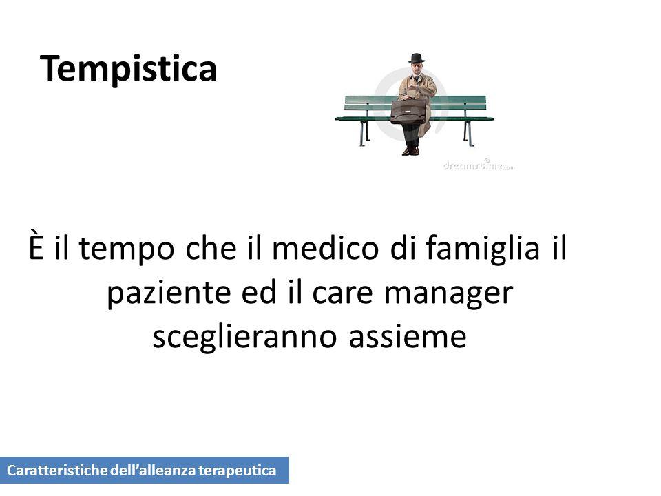Tempistica È il tempo che il medico di famiglia il paziente ed il care manager sceglieranno assieme.