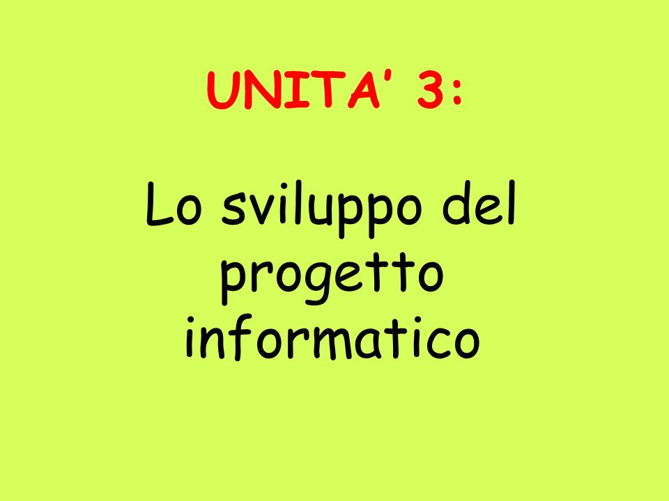 Lo sviluppo del progetto informatico