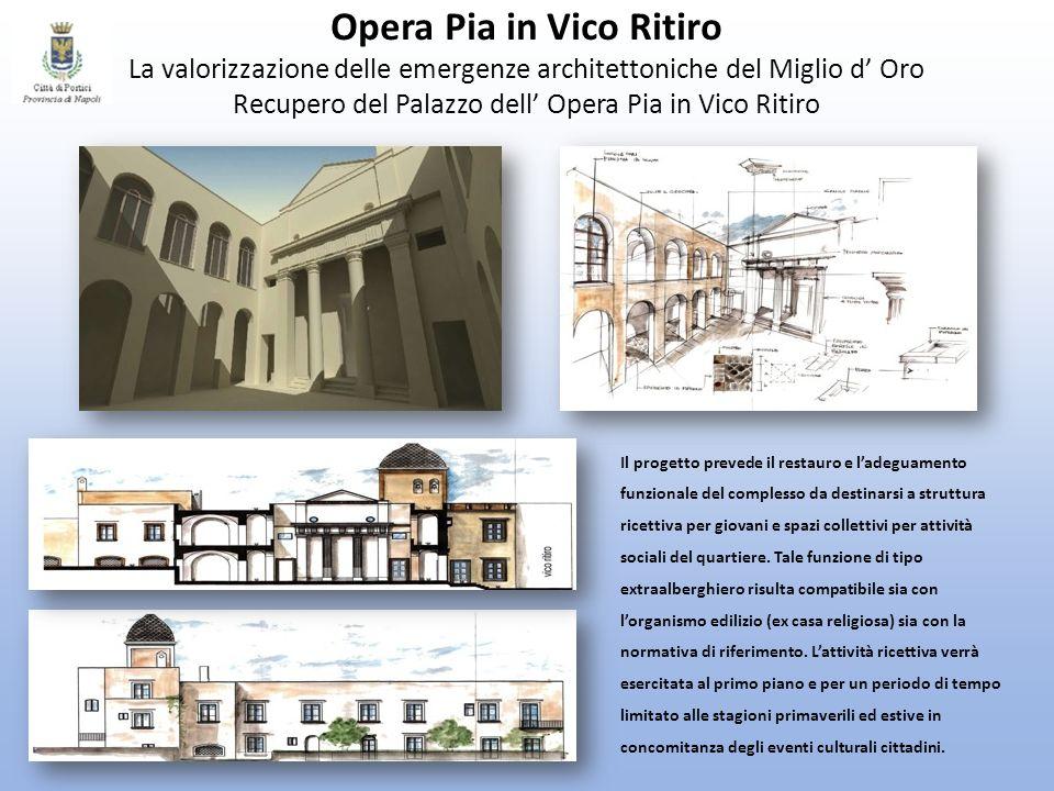Opera Pia in Vico Ritiro La valorizzazione delle emergenze architettoniche del Miglio d' Oro Recupero del Palazzo dell' Opera Pia in Vico Ritiro
