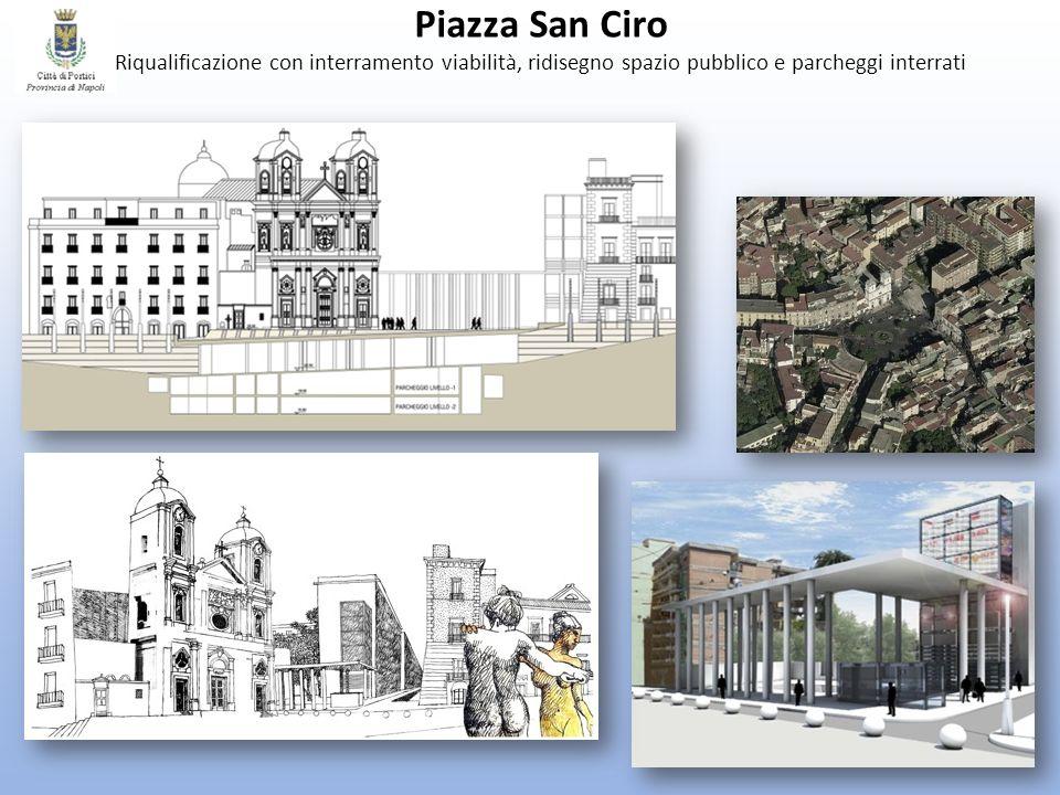 Piazza San Ciro Riqualificazione con interramento viabilità, ridisegno spazio pubblico e parcheggi interrati.