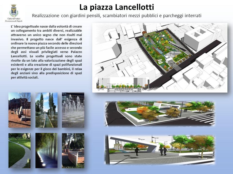 La piazza Lancellotti Realizzazione con giardini pensili, scambiatori mezzi pubblici e parcheggi interrati
