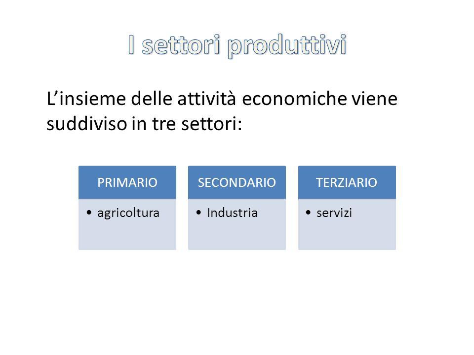 I settori produttivi L'insieme delle attività economiche viene suddiviso in tre settori: PRIMARIO.