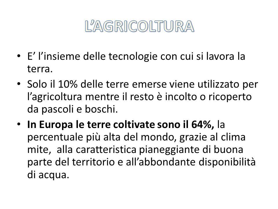 L'AGRICOLTURA E' l'insieme delle tecnologie con cui si lavora la terra.