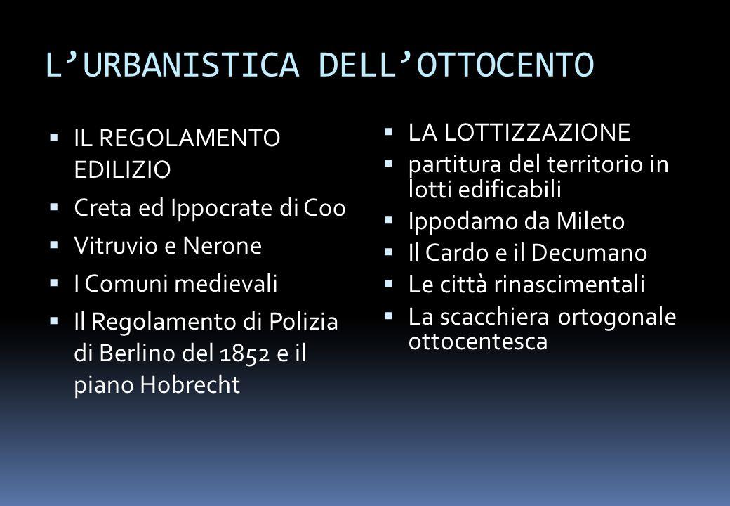 L'URBANISTICA DELL'OTTOCENTO