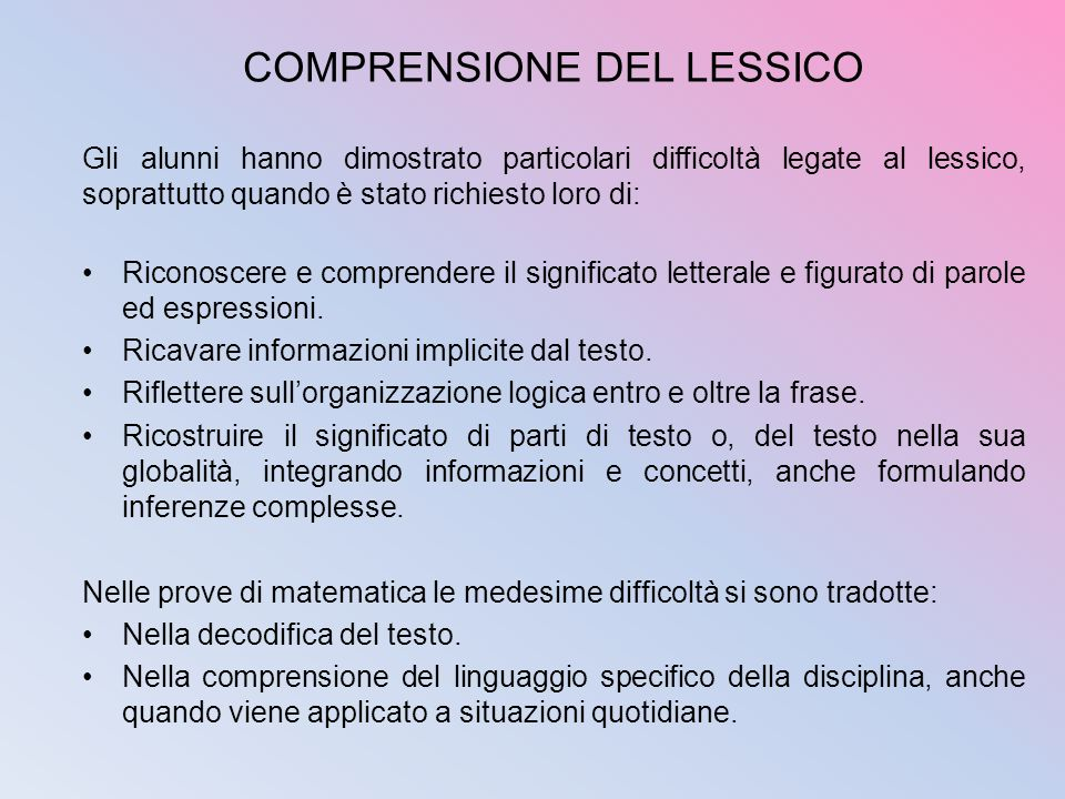 COMPRENSIONE DEL LESSICO
