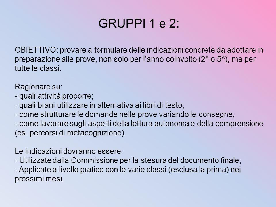 GRUPPI 1 e 2: