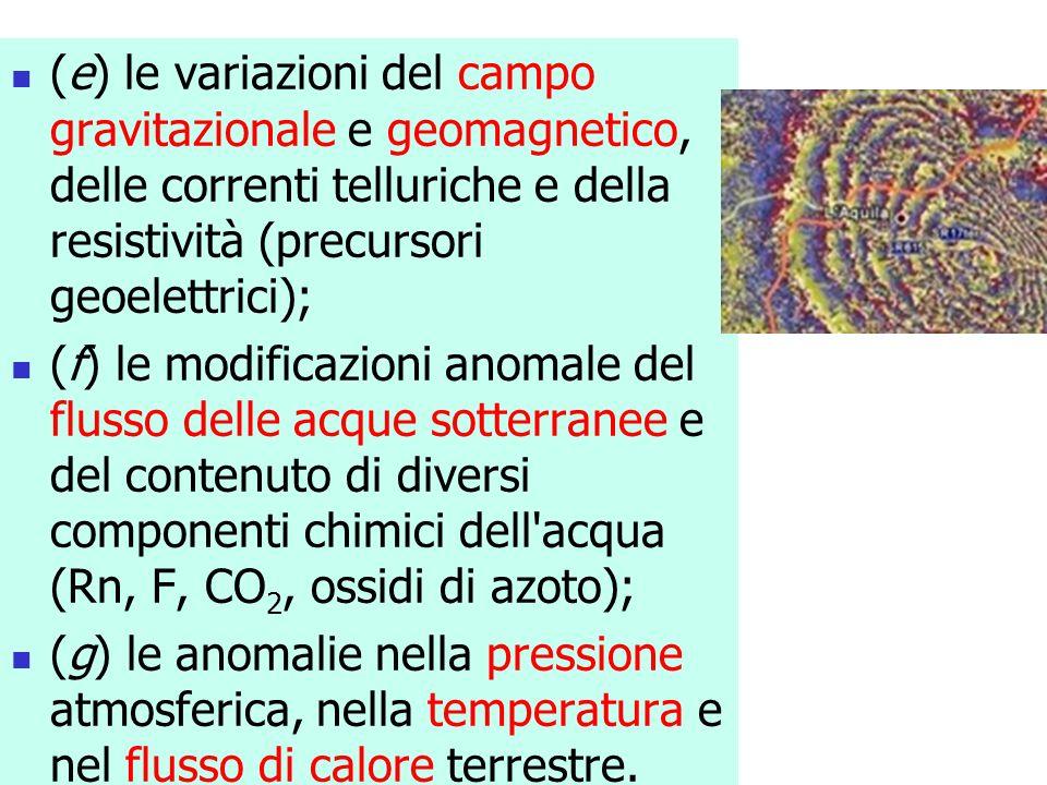 (e) le variazioni del campo gravitazionale e geomagnetico, delle correnti telluriche e della resistività (precursori geoelettrici);