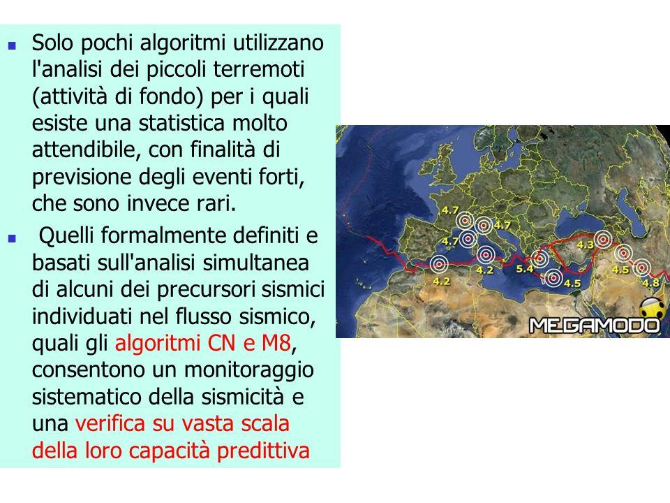 Solo pochi algoritmi utilizzano l analisi dei piccoli terremoti (attività di fondo) per i quali esiste una statistica molto attendibile, con finalità di previsione degli eventi forti, che sono invece rari.