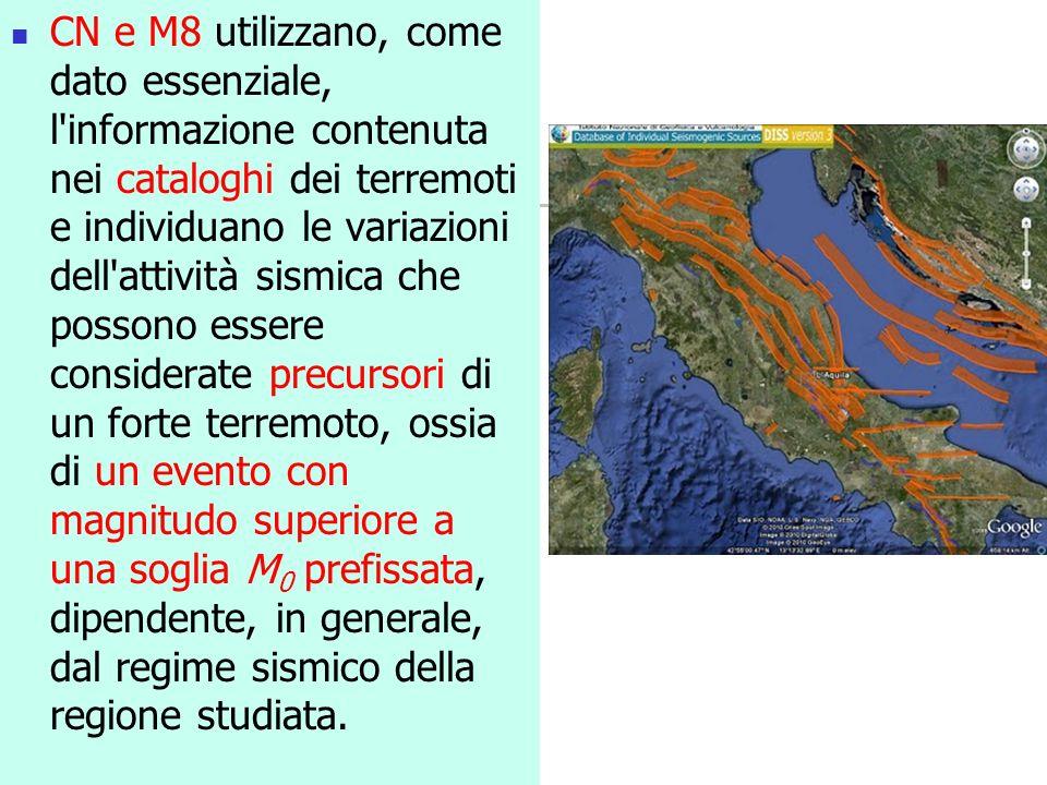 CN e M8 utilizzano, come dato essenziale, l informazione contenuta nei cataloghi dei terremoti e individuano le variazioni dell attività sismica che possono essere considerate precursori di un forte terremoto, ossia di un evento con magnitudo superiore a una soglia M0 prefissata, dipendente, in generale, dal regime sismico della regione studiata.