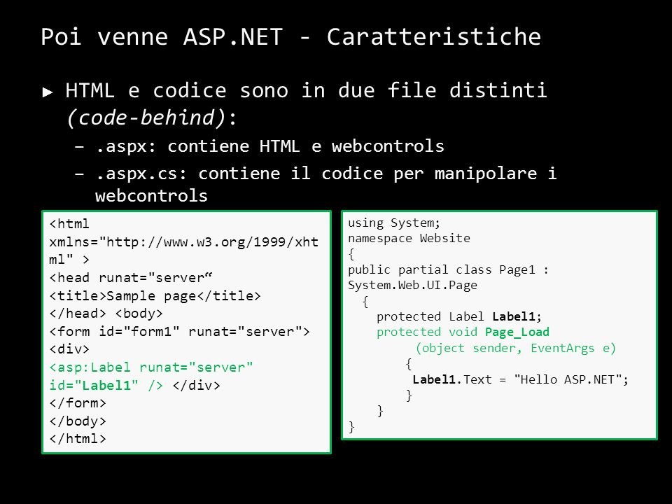 Poi venne ASP.NET - Problemi