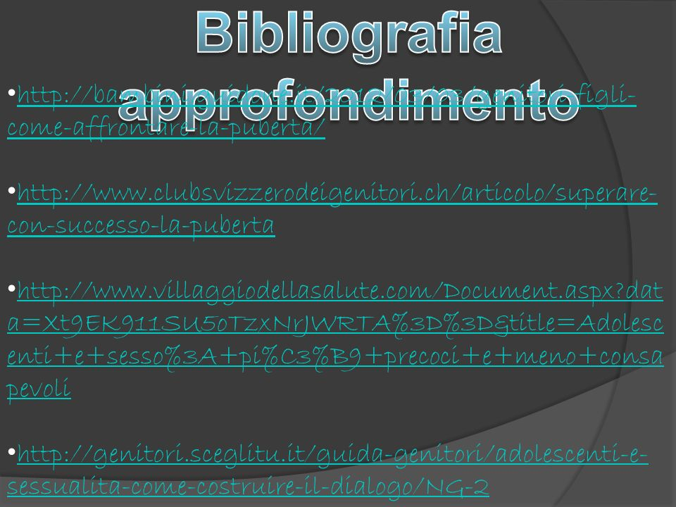 Bibliografia approfondimento