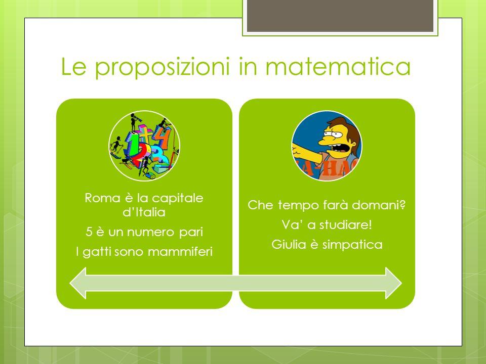 Le proposizioni in matematica