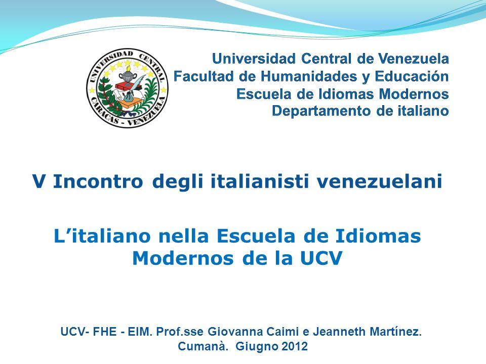 L'italiano nella Escuela de Idiomas Modernos de la UCV