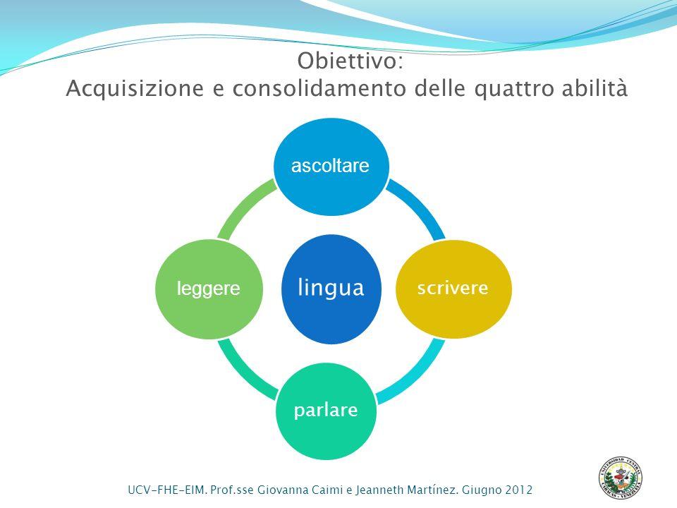 Acquisizione e consolidamento delle quattro abilità