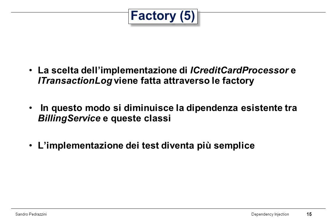 Factory (5) La scelta dell'implementazione di ICreditCardProcessor e ITransactionLog viene fatta attraverso le factory.