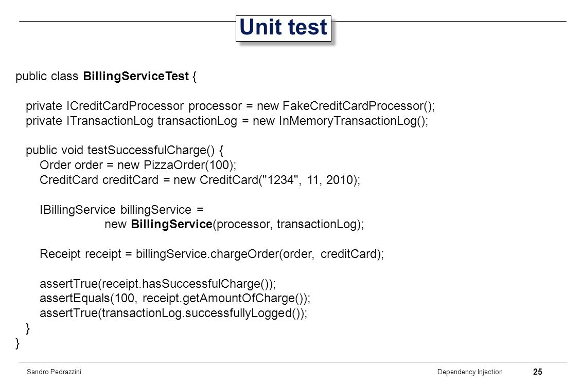 Unit test public class BillingServiceTest {