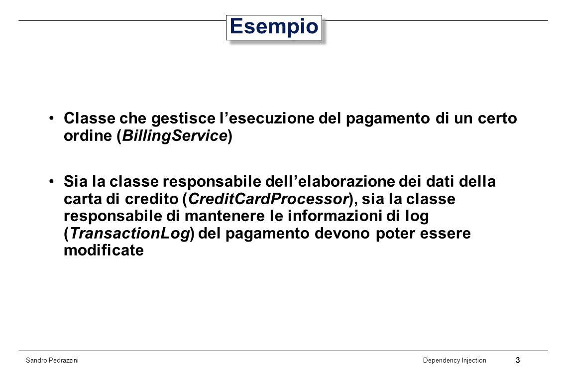 Esempio Classe che gestisce l'esecuzione del pagamento di un certo ordine (BillingService)