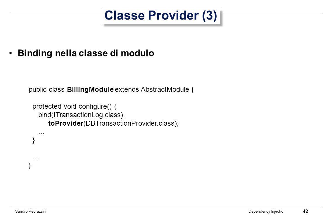 Classe Provider (3) Binding nella classe di modulo